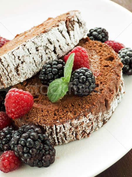 Beeren · schokolade · sahne · obst · kuchen · rot - stock ...