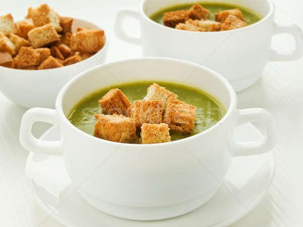Soep groene knapperig ondiep voedsel Stockfoto © AGfoto