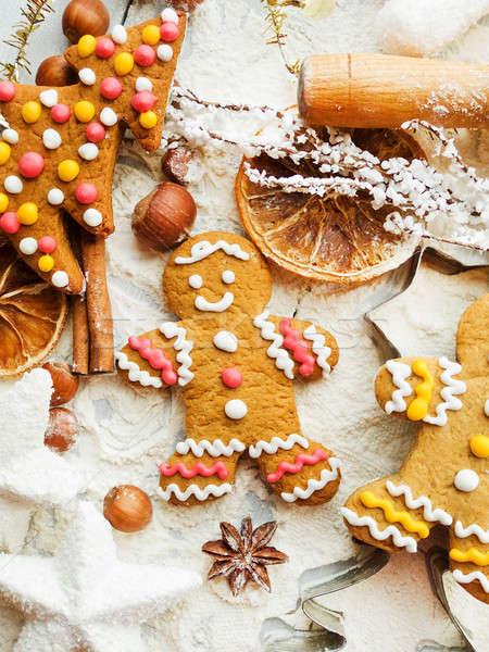 Stok fotoğraf: Noel · kurabiye · baharatlar · arka · plan · Metal