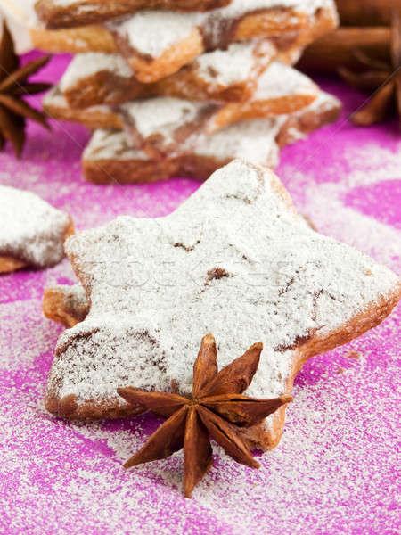 Chocolade cookies poedersuiker kaneel anijs ondiep Stockfoto © AGfoto