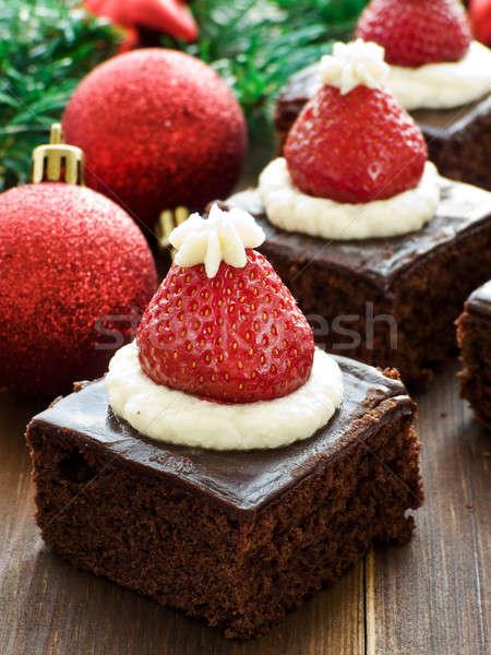Santa hat brownies Stock photo © AGfoto