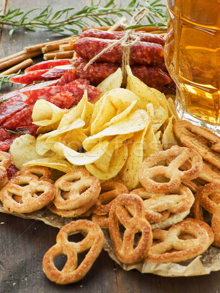 Stock photo: Beer and snacks
