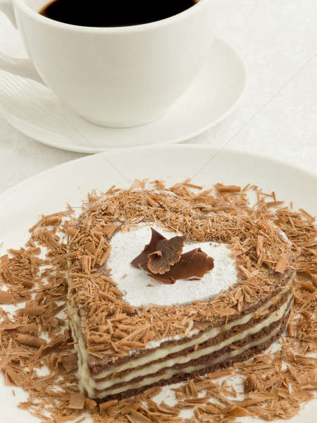 Kek plaka tatlı çikolata kahve fincanı sığ Stok fotoğraf © AGfoto