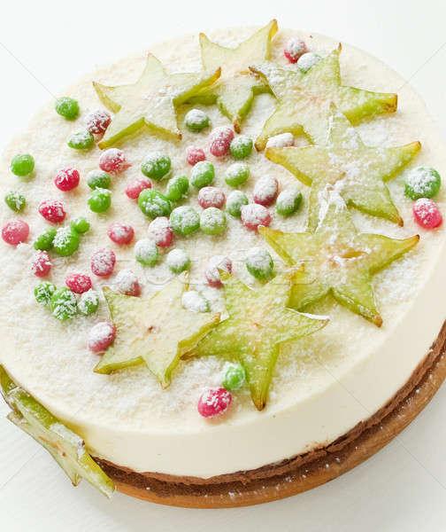 Tejföl sajttorta cukorkák sekély mélységélesség desszert Stock fotó © AGfoto