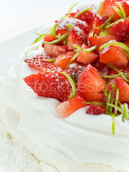 Strawberry Pavlova Stock photo © AGfoto