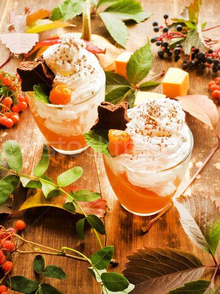 Pumpkin panna cotta Stock photo © AGfoto