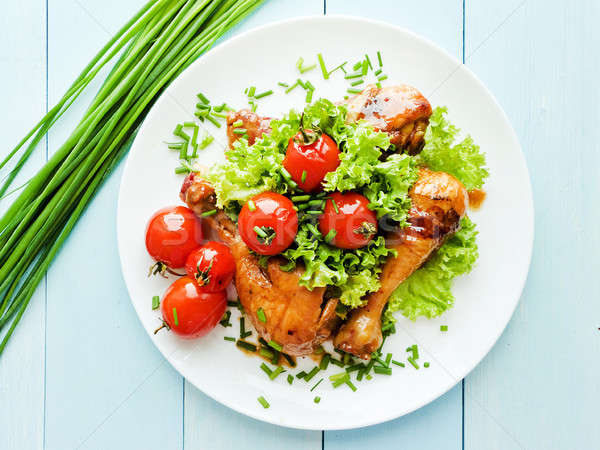 Baked chicken with veggies Stock photo © AGfoto