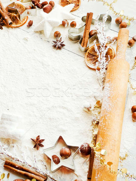 Foto stock: Navidad · cookie · especias · fondo · metal