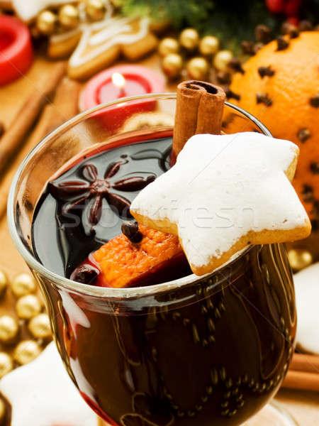 Wijn plakje oranje specerijen ondiep Stockfoto © AGfoto