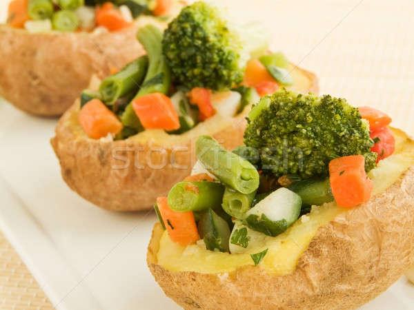фаршированный картофель пластина овощей мелкий Сток-фото © AGfoto