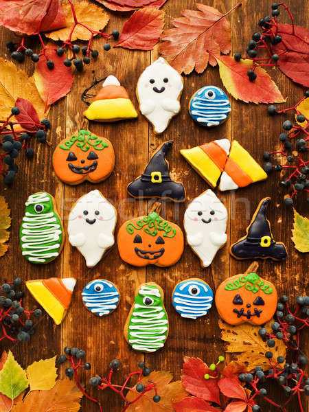 Peperkoek halloween cookies cute ondiep Stockfoto © AGfoto