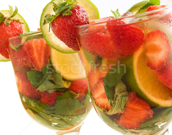 Strawberry-lime mojito Stock photo © AGfoto