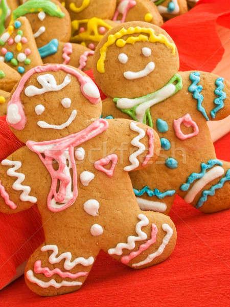 Stockfoto: Peperkoek · cookies · eigengemaakt · gekleurd · ondiep