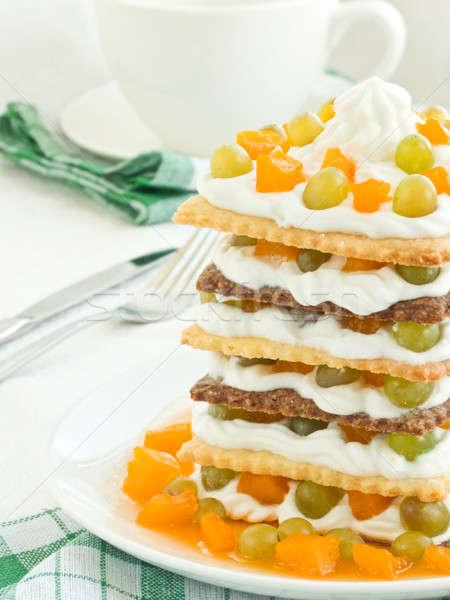 Vruchten dessert slagroom vruchten ondiep Stockfoto © AGfoto