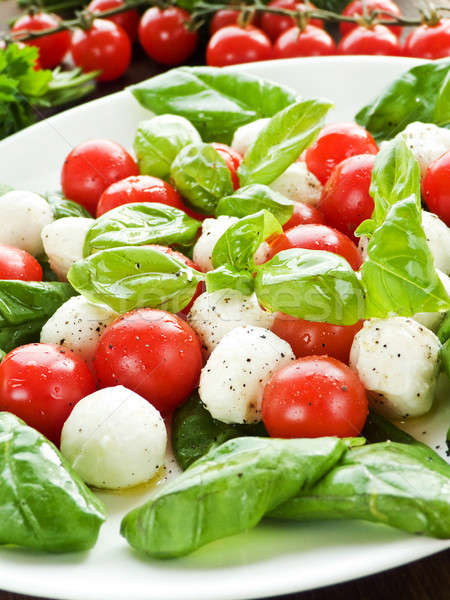 Капрезе свежие салат Капрезе помидоры черри ребенка базилик Сток-фото © AGfoto