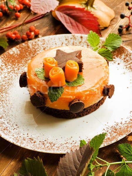 Dulce calabaza torta chocolate madera superficial Foto stock © AGfoto