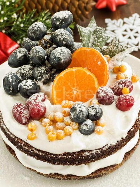 冬 ケーキ クリスマス フルーツケーキ ホイップクリーム 果物 ストックフォト © AGfoto