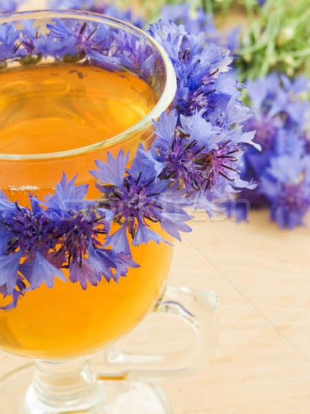 василек чай стекла украшенный венок цветы Сток-фото © AGfoto