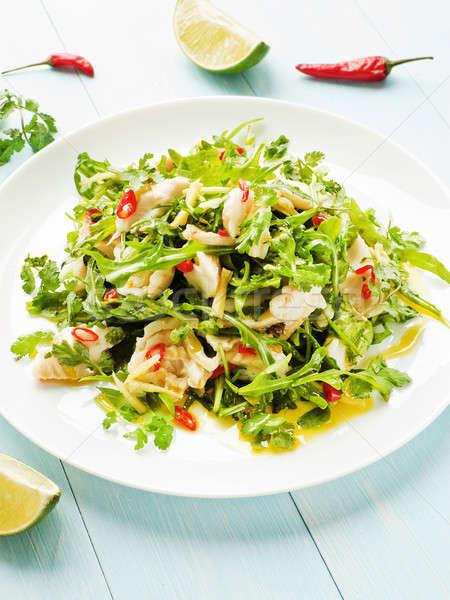Saláta párolt tenger basszus filé chilipaprika Stock fotó © AGfoto