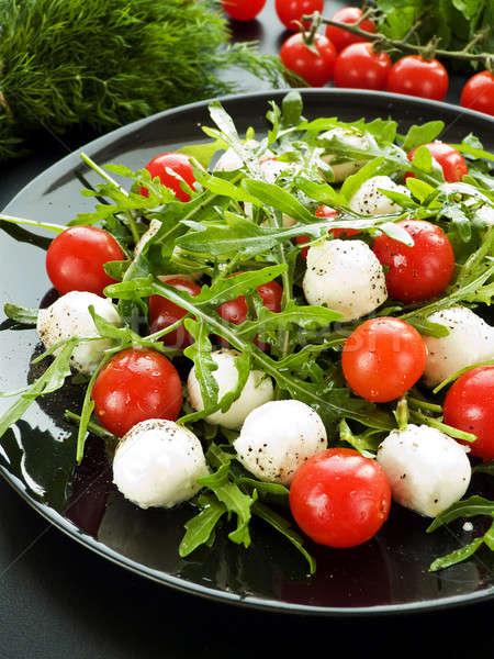 Saláta friss koktélparadicsom mozzarella sekély mélységélesség Stock fotó © AGfoto