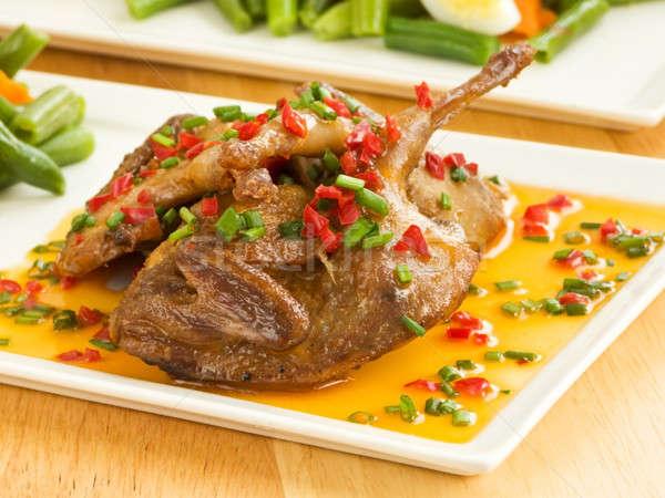 Obiedzie tablicy szafran sos warzyw Zdjęcia stock © AGfoto