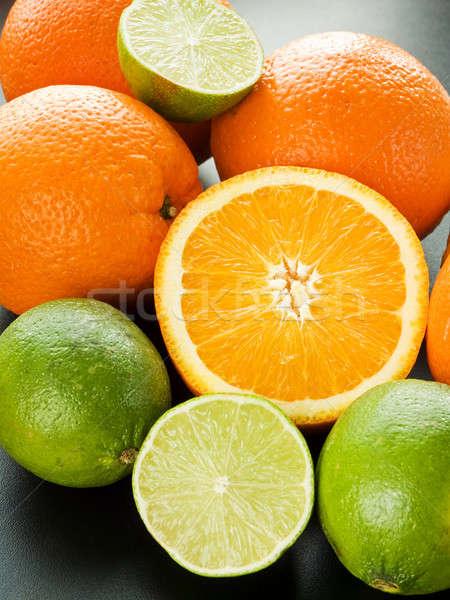 Gyümölcsök keverék citrus fekete sekély mélységélesség Stock fotó © AGfoto