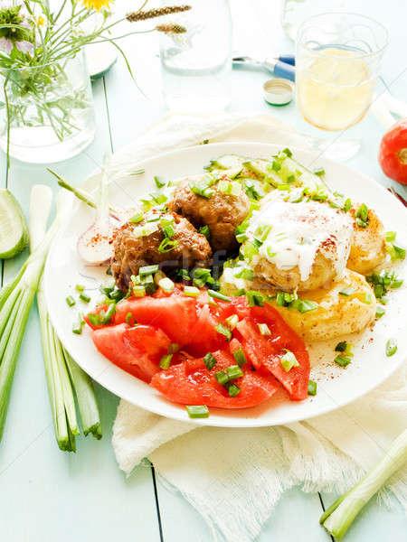 Mashed potatoes and meatballs Stock photo © AGfoto