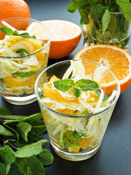 Salat frischen Fenchel orange mint seicht Stock foto © AGfoto