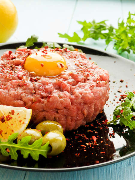 Beef tartar with spices Stock photo © AGfoto