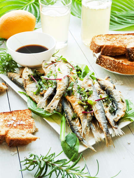 Fried crispy anchovy Stock photo © AGfoto