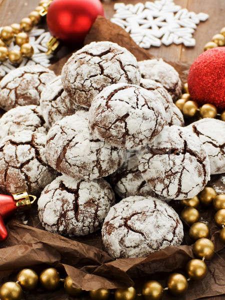 Neve cap cookies cioccolato Natale poco profondo Foto d'archivio © AGfoto