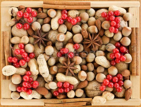Stock fotó: Karácsony · fából · készült · doboz · különböző · diók · fűszer