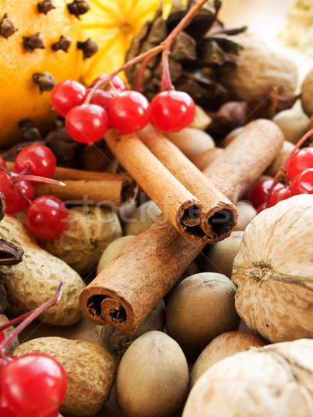 Stock fotó: Karácsony · különböző · diók · fűszer · gyümölcsök · sekély