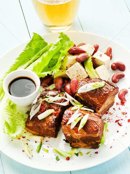 豚肉 リブ 醤油 ビール プレート 豆腐 ストックフォト © AGfoto