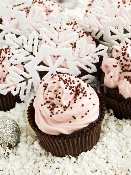 Minitorták karácsony csokoládé tejszínhab sekély mélységélesség Stock fotó © AGfoto