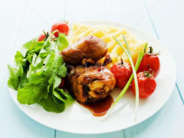 Chicken with veggies Stock photo © AGfoto