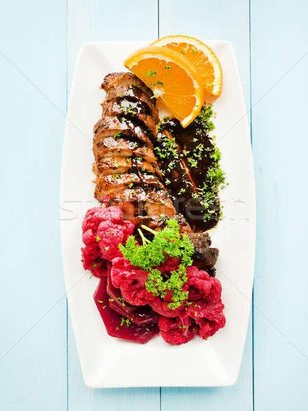 Carne di maiale filetto piatto marinato salsa di soia Foto d'archivio © AGfoto
