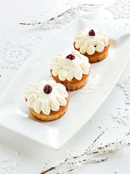 Karácsony desszert tejszínhab cseresznye sekély mélységélesség Stock fotó © AGfoto