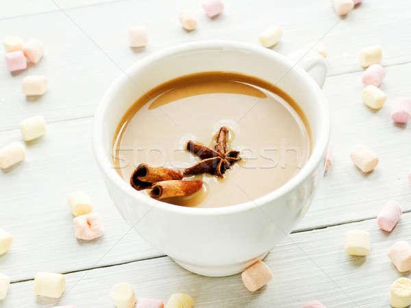 Zoete winter drinken beker specerijen ondiep Stockfoto © AGfoto