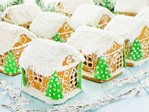 Natale pan di zenzero casa case blu poco profondo Foto d'archivio © AGfoto