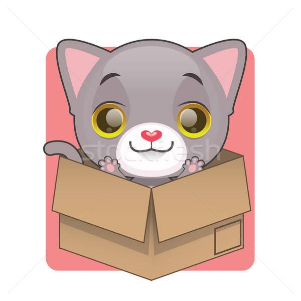 Aranyos szürke kiscica kedvenc kartondoboz szemek Stock fotó © AgnesSz