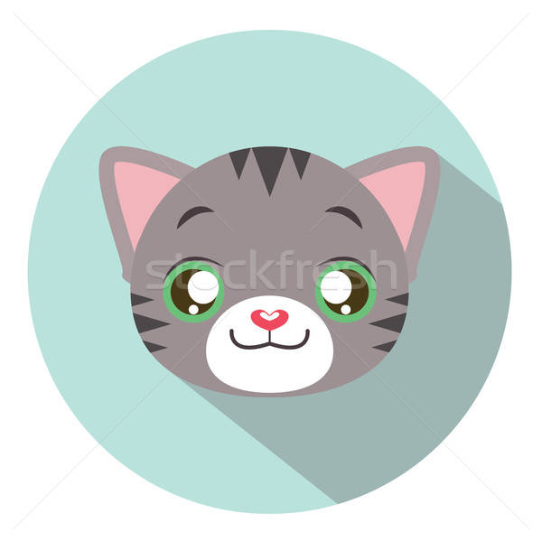 Kitty head icon #15 with long shadow Stock photo © AgnesSz