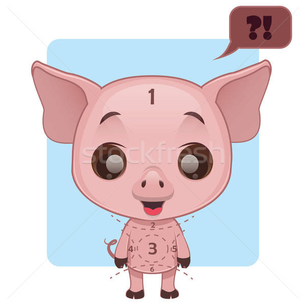 Cute pig being confused about marks Stock photo © AgnesSz
