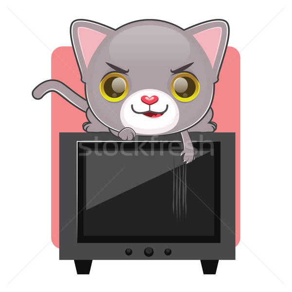 Cute gray cat being naughty and scratching a television screen Stock photo © AgnesSz