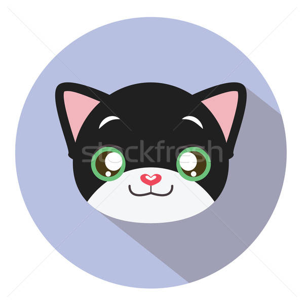 Kitty head icon #16 with long shadow Stock photo © AgnesSz