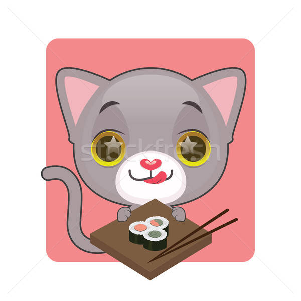 Cute gray cat eager to eat sushi Stock photo © AgnesSz