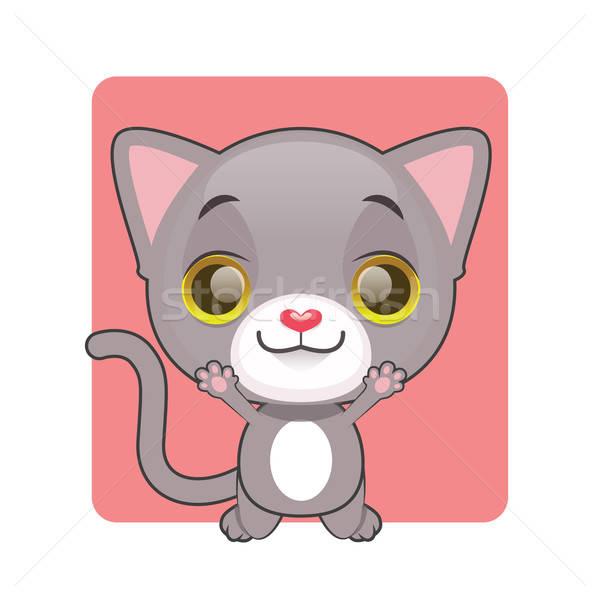 Aranyos szürke macska ugrik öröm boldog háttér Stock fotó © AgnesSz