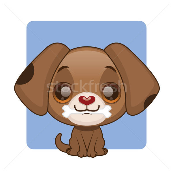 Cute brown puppy holding a bone Stock photo © AgnesSz