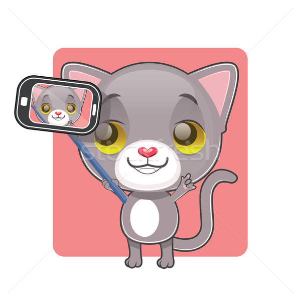 Cute gray cat taking a selfie Stock photo © AgnesSz