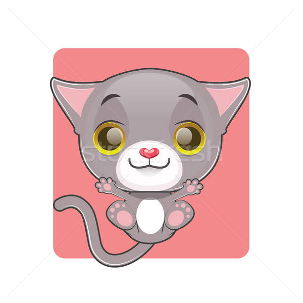 Cute gray cat being thrown up in the air Stock photo © AgnesSz